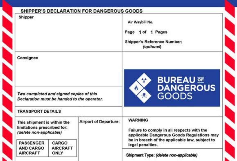 Shipper's Declaration for Dangerous Goods