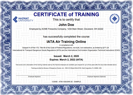 hazmat shipping certification